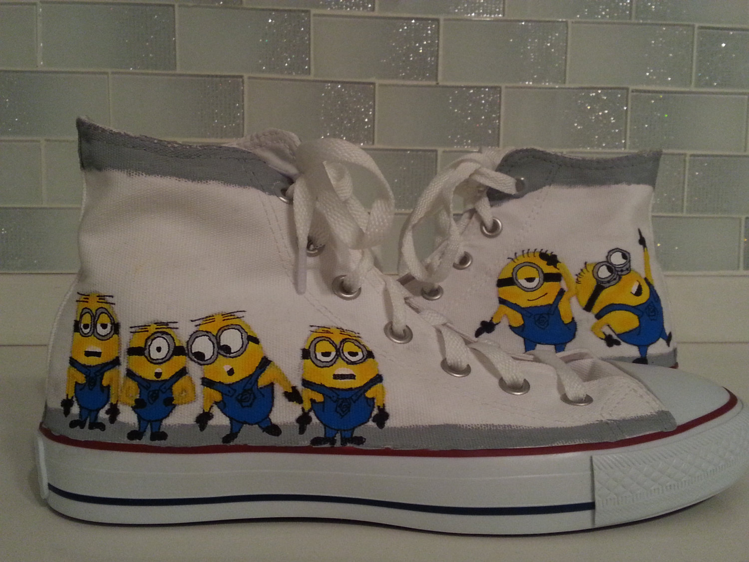 Minion painted shoes, custom converse for fans and cosplayers