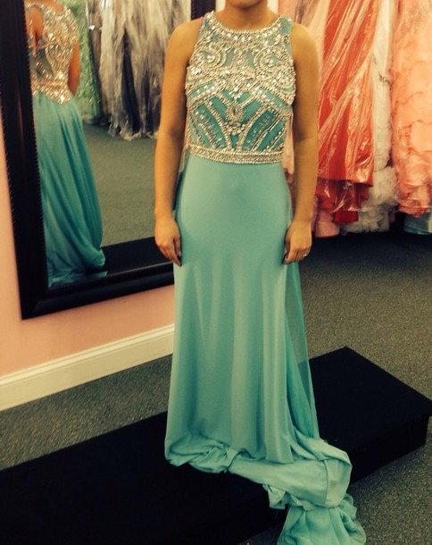 dress long prom dress prom dress green prom dress jeweled dress