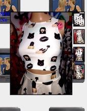 crop tops,top,shirt,emoji print,emoji shirt,emoji shirt tank top white tank iphone emojis,emoji skirt and top,emoji skirt,black,b̝l̝a̝c̝k̝ e̝m̝o̝j̝i̝s̝ w̝h̝i̝t̝e̝,white,white crop tops,white t-shirt,nails,lips,two piece dress set