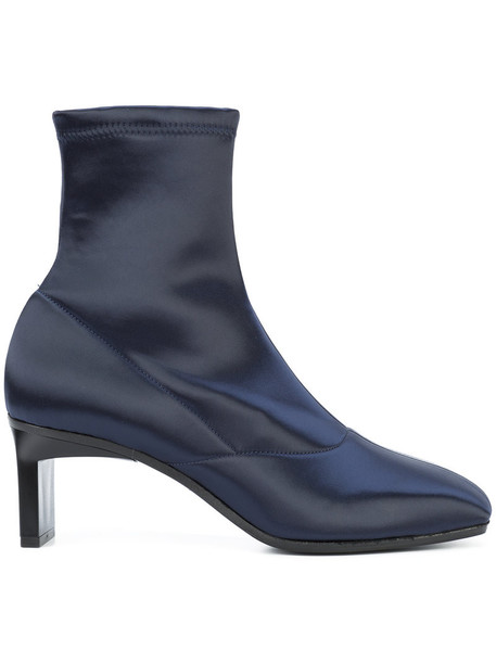 heel women booties leather blue satin shoes