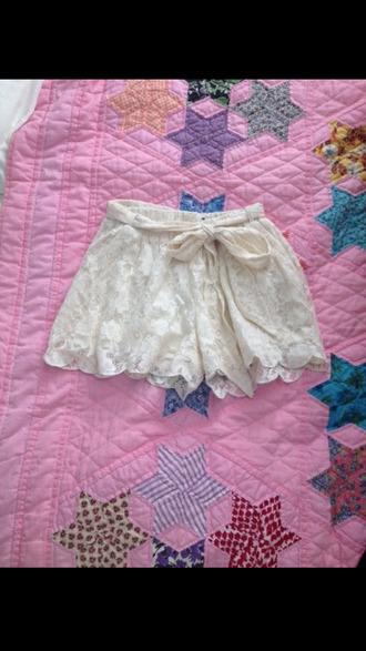 shorts double zero clothing cream lace high waisted shorts