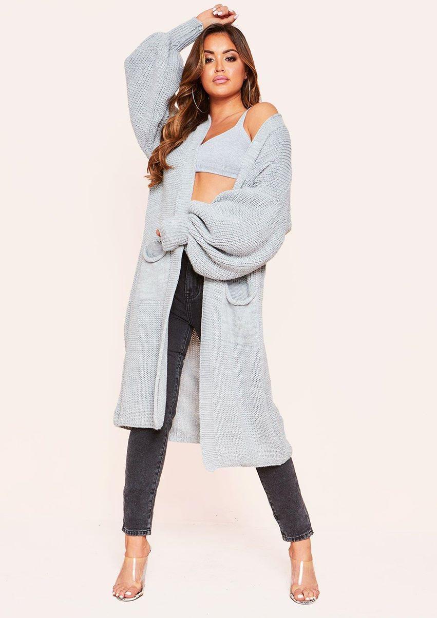 Nathalie Grey Balloon Sleeve Knitted Cardigan