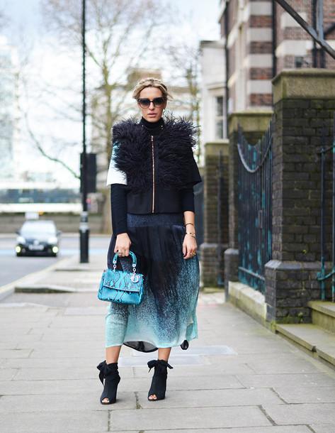 camila carril blogger fluffy snake print dress jacket shoes sunglasses bag