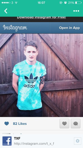 shirt tie dye adi adidas dyed hand dyed handmade hand made trefoil originals model post look sea aqua stained grunge alternative