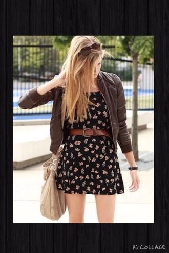 jacket brown jacket floral dress