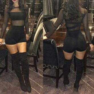 jumpsuit black mesh bodysuit sexy mesh romper dress black jumpsuit clubwear transparent long sleeves