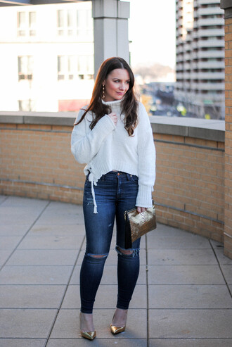 currentlycoveting blogger sweater jeans jewels shoes bag make-up turtleneck sweater winter outfits pumps gold heels