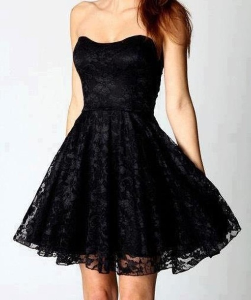 Dress Lace Dress Strapless Dress Black Dress Taffeta Skirt
