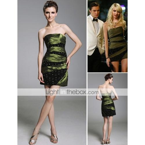 Jenny sheath/column strapless short/mini taffeta cocktail/homecoming/gossip girl fashion dress season 3 (fsd0289)