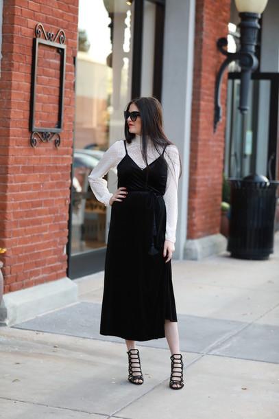 307ef4c261a dress tumblr black dress slip dress velvet velvet dress maxi dress top  white top sunglasses black
