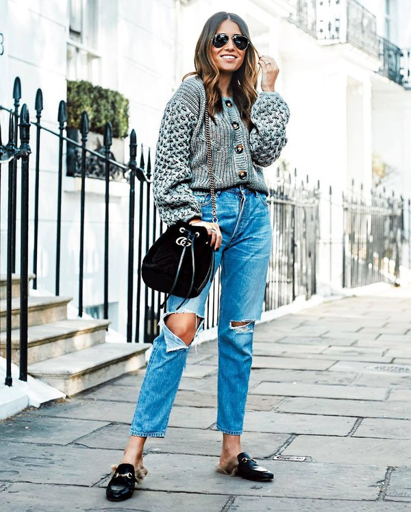 sweater knitwear button up jeans high waisted jeans ripped jeans mules shoulder bag chain bag aviator sunglasses