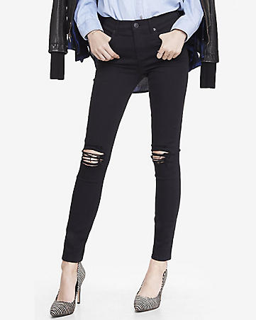 high waisted distressed knee jean legging