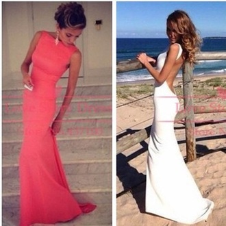 dress coral dress low back dress high neck coral maxi dress prom dress prom gown
