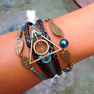 jewels layered owl harry potter bracelets golden snitch horcruxes horcrux hermione ron weasley gold