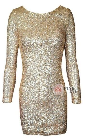 gold short dress sparkly dress gold dress long sleeve dress