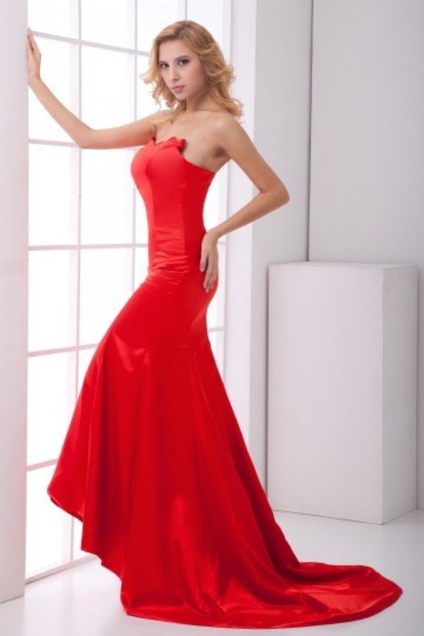 satin dress eveing dress red dress