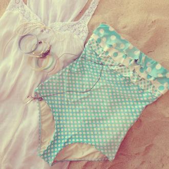 swimwear blue polka dots sweet strapless cute cute bikini summer