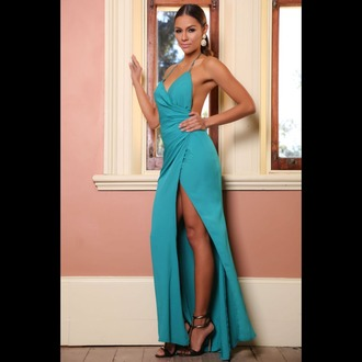 dress backless deep v neck dress slit prom dress