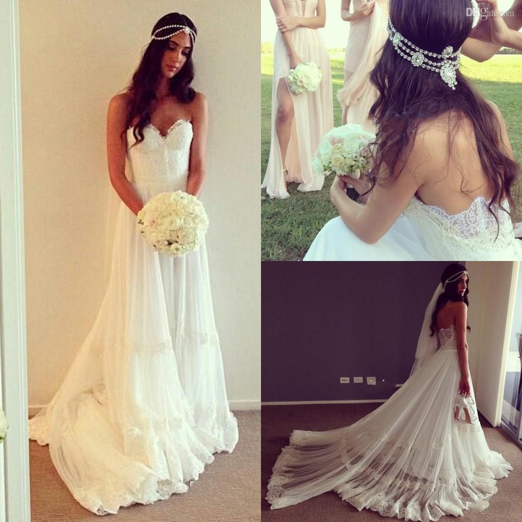 2016 vintage dresses beach wedding dress cheap dropped for Cheap boho wedding dresses