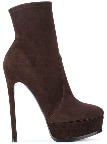 CASADEI sock boots women leather suede brown shoes