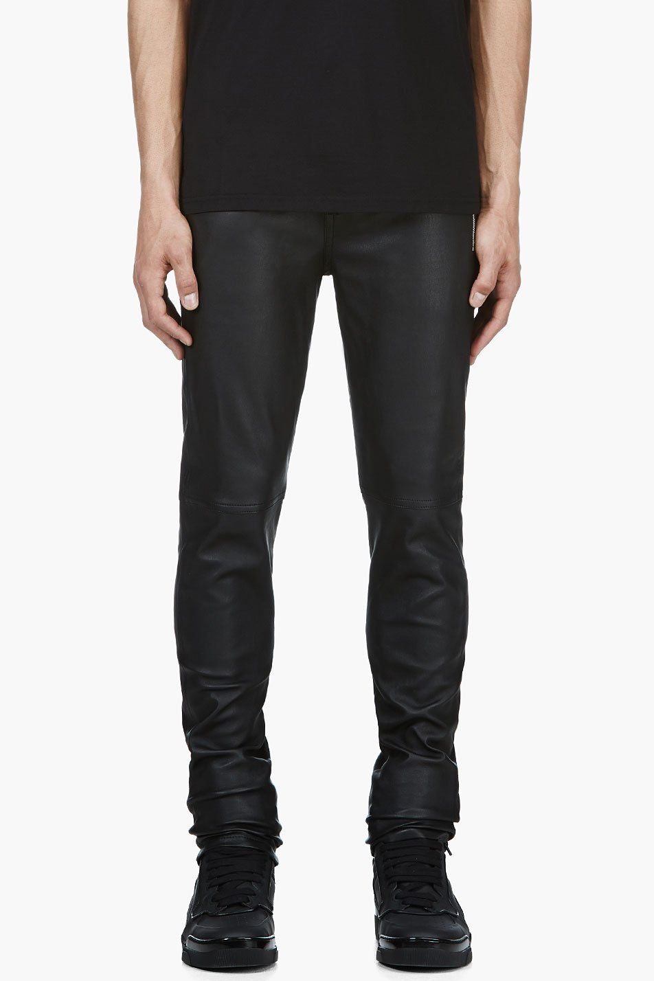 givenchy black buffed leather trousers