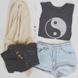 top summer yin yang shorts cardigan shoes