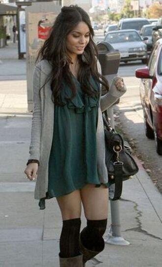 dress vanessa hudgens green dress cardigan shoes socks