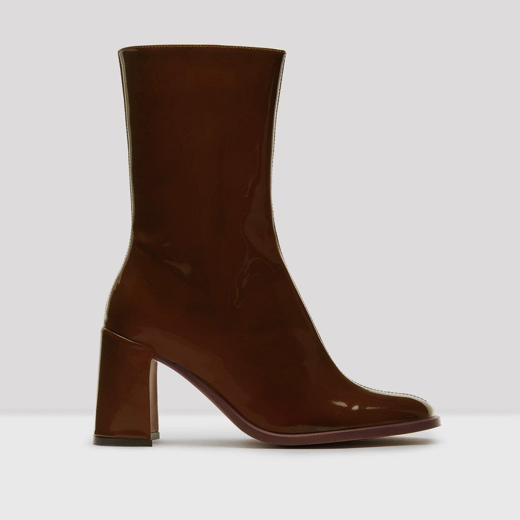 Asta Brown Patent Leather Boots