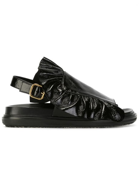 ruffle women sandals leather black shoes