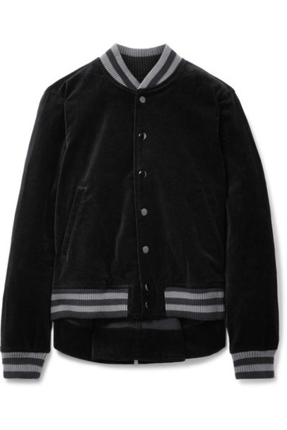 The Great jacket bomber jacket cotton black velvet