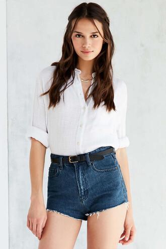 shirt white white shirt urban outfitters cotton shirt