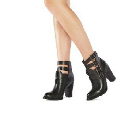 shoes buckles boots black fashion