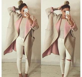 coat pink trench coat nude long coat winter outfits winter coat