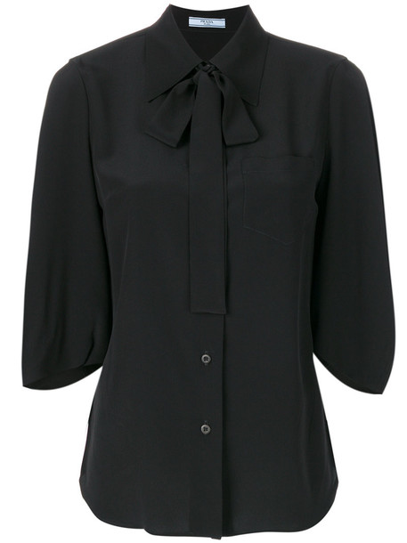 Prada - crepe de chine blouse - women - Silk - 42, Black, Silk