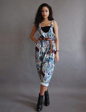 jumpsuit tribal pattern jumper overalls 80s style 90s style harem pants vintage