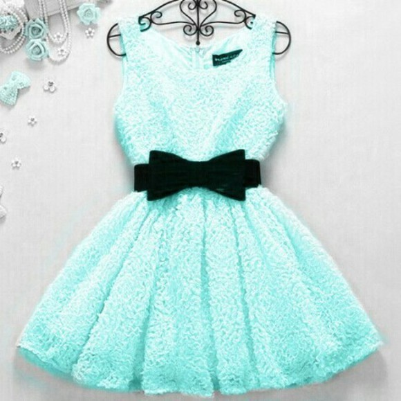 mint blue dress cute dress loop belt