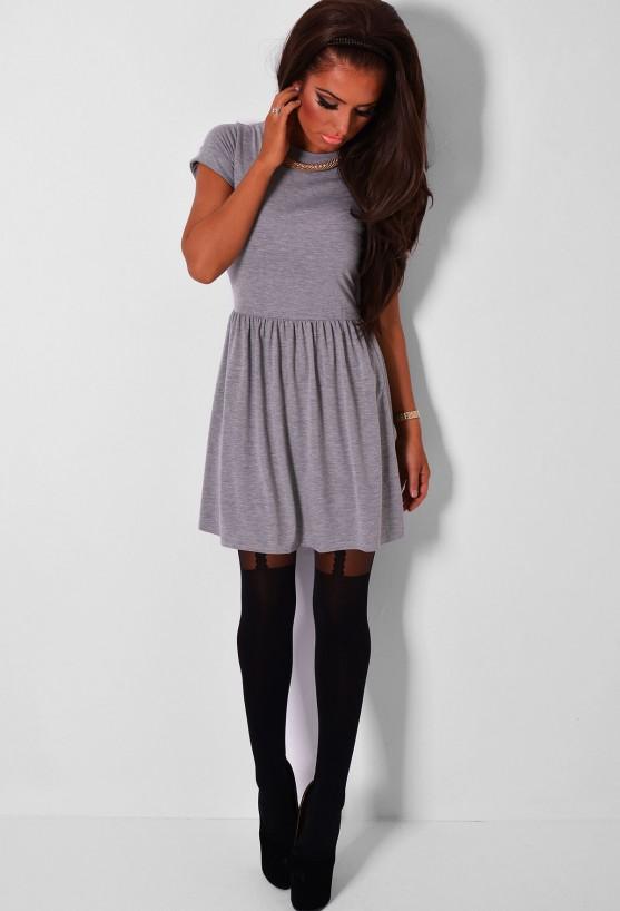 Camillo grey marl short sleeved skater dress