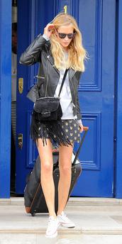 jacket,sunglasses,poppy delevingne,shorts,shoes,shirt,bag,fringed bag