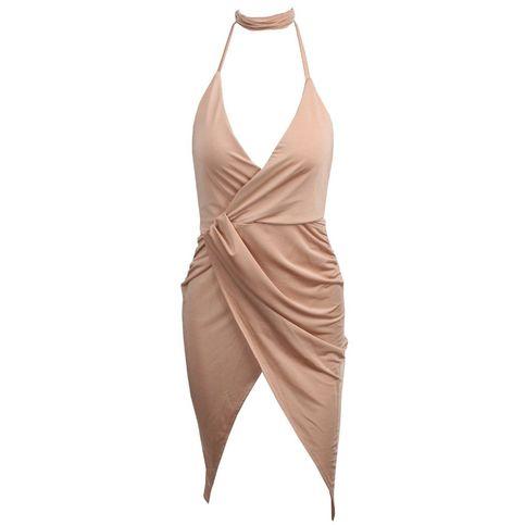 Nude V-Neck Cross Changeable Backless Wrap Drape Dress on Storenvy