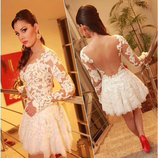 Free Shipping 2015 Cute White Lace Jewel Neckline Appliqued Long Sleeve Short Prom Dresses Vestidos De Fiesta Cortos-in Prom Dresses from Apparel & Accessories on Aliexpress.com