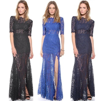 dress prom dress little black dress black lace dress pretty backless sheer