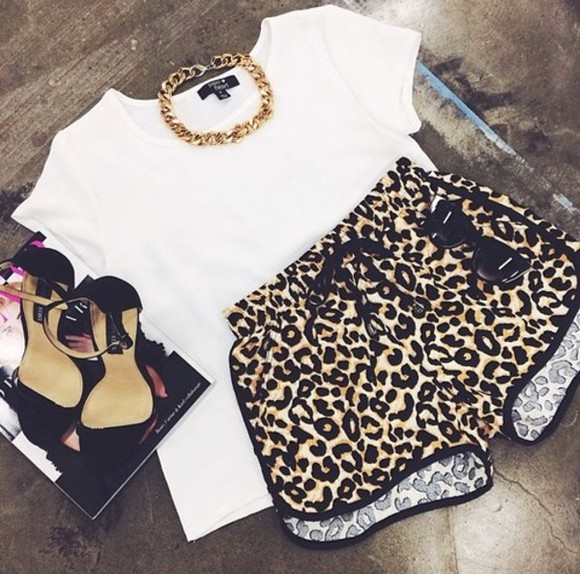 cheetah cheetah print cute shorts gold chain white t-shirt black high heels shoes leopard print rihnna ariana beyonce hot sexy joggers sport nike dope swag booty shorts riri jewels animal print print summer leopard printed short home every occasion tiger printed