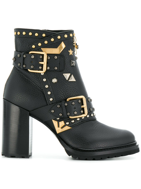 women embellished ankle boots leather black shoes