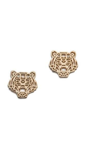 mini tiger earrings gold jewels