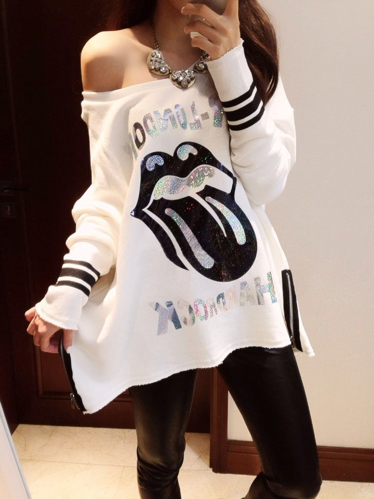 Hot!Women's Spring New Sexy Slash Neck Loose Cotton Red Lips Cartoon Letters T shirt Tees Street Tops Black White Free Shipping -in T-Shirts from Apparel & Accessories on Aliexpress.com