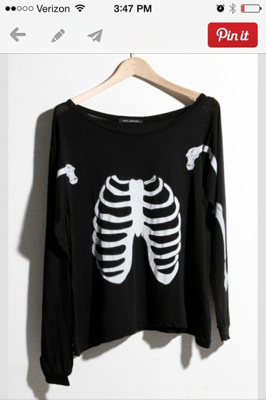 black sweater blouse skeleton