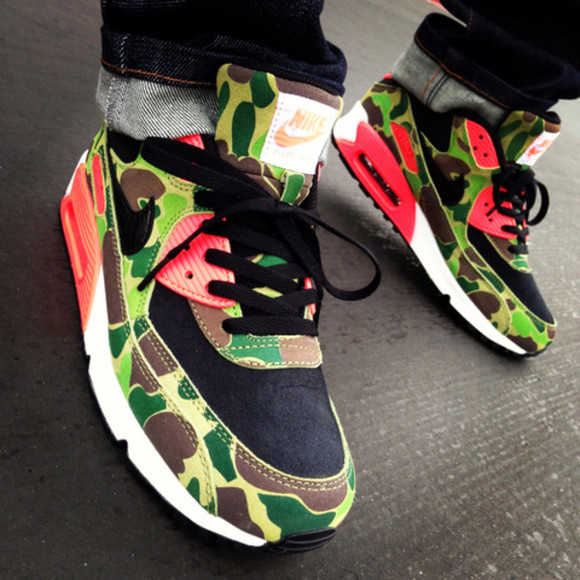shoes nike air max nike sneakers red camouflage dope too dope swag mens shoes