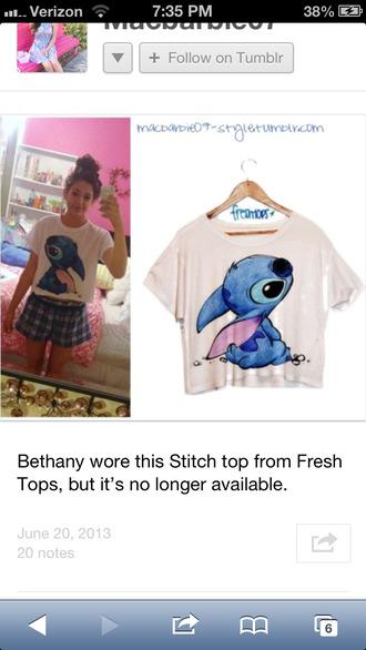 shirt disney lilo stitch monster cute pajamas freshtops bethany mota blue crop tops