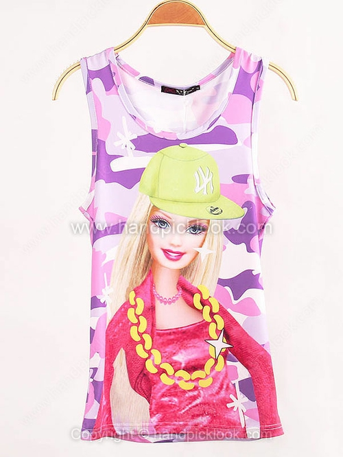 Purple Sleeveless Cartoon Character Print Vest - HandpickLook.com
