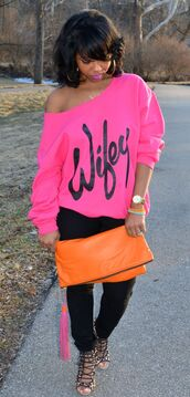 off the shoulder,off the shoulder sweater,sweatshirt,swag,wifey,neon,bag,shoes,hot pink